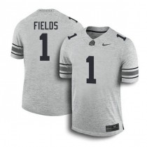 Mens Justin Fields Ohio State Buckeyes #1 Game Grey College Football Jersey 102
