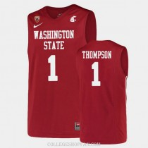 Mens Klay Thompson Washington State #1 Authentic Red College Basketball Jersey