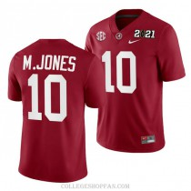 Mens Mac Jones Alabama Crimson Tide #10 Game Red 2021th College Football Jersey