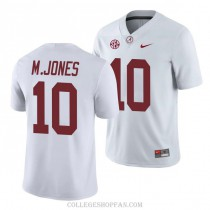 Mens Mac Jones Alabama Crimson Tide #10 Game White College Football Jersey