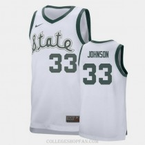 Mens Magic Johnson Michigan State Spartans #33 Authentic White College Basketball Jersey
