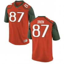 Mens Michael Irvin Miami Hurricanes #47 Authentic Orange Green College Football Jersey 102