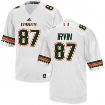 Mens Michael Irvin Miami Hurricanes #47 Authentic Orange White Football Adidas Jersey 102