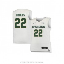 Mens Miles Bridges Michigan State Spartans #33 Authentic White Big College Basketball Jersey