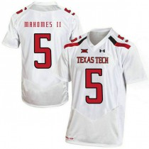 Mens Patrick Mahomes Texas Tech Red Raiders #5 Authentic White Colleage Football Jersey 102
