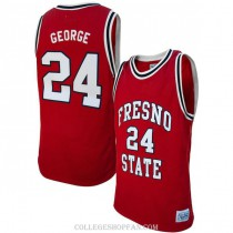 Mens Paul George Fresno State Bulldogs #24 Authentic Red College Basketball Jersey