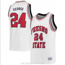 Mens Paul George Fresno State Bulldogs #24 Authentic White College Basketball Jersey