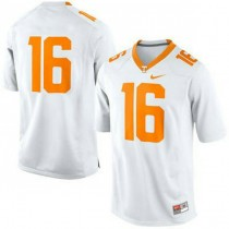 Mens Peyton Manning Tennessee Volunteers #16 Game White Colleage Football Jersey No Name 102