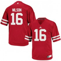 Mens Russell Wilson Wisconsin Badgers #16 Authentic Red Colleage Football Jersey 102