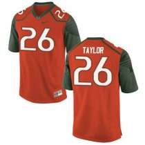 Mens Sean Taylor Miami Hurricanes #26 Authentic Orange Green College Football Jersey 102