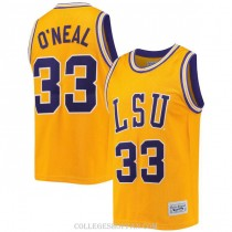 Mens Shaquille Oneal Lsu Tigers #33 Authentic Gold College Basketball Jersey