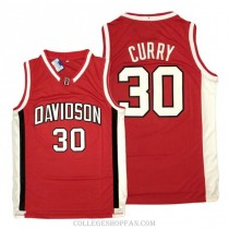 Mens Stephen Curry Davidson Wildcats #30 Authentic Red College Basketball Jersey