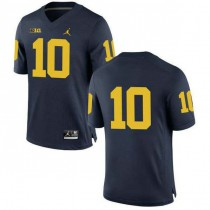 Mens Tom Brady Michigan Wolverines #10 Authentic Navy College Football Jersey No Name 102