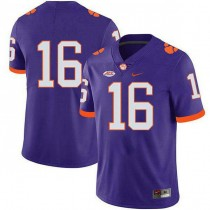 Mens Trevor Lawrence Clemson Tigers #16 Game Purple Colleage Football Jersey No Name 102
