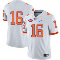 Mens Trevor Lawrence Clemson Tigers #16 Game White Colleage Football Jersey No Name 102
