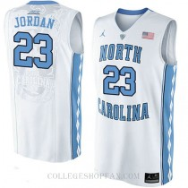 Michael Jordan North Carolina Tar Heels #23 Authentic College Basketball Youth Jersey Unc White