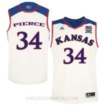 Paul Pierce Kansas Jayhawks #34 Authentic College Basketball Mens Jersey Cream