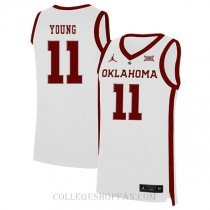 Trae Young Oklahoma Sooners #11 Authentic College Basketball Womens Jersey White
