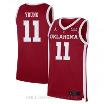 Trae Young Oklahoma Sooners #11 Authentic College Basketball Youth Jersey Red