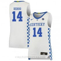 Tyler Herro Kentucky Wildcats #14 Authentic College Basketball Womens Jersey White