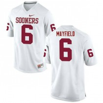 Womens Baker Mayfield Oklahoma Sooners #6 Authentic White College Football Jersey 102