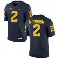 Womens Charles Woodson Michigan Wolverines #2 Game Navy College Football Jersey 102
