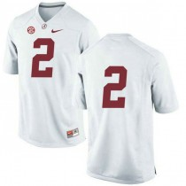 Womens Jalen Hurts Alabama Crimson Tide #2 Authentic White Colleage Football Jersey No Name 102