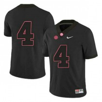 Womens Jerry Jeudy Alabama Crimson Tide #4 Authentic Black Colleage Football Jersey No Name 102