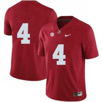 Womens Jerry Jeudy Alabama Crimson Tide #4 Authentic Red Colleage Football Jersey No Name 102
