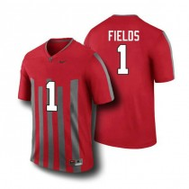 Womens Justin Fields Ohio State Buckeyes #1 Throwback Authentic Red College Football Jersey 102