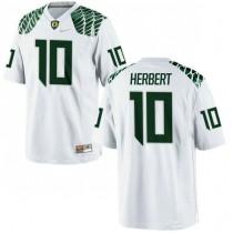 Womens Justin Herbert Oregon Ducks #10 Authentic White College Football Jersey 102