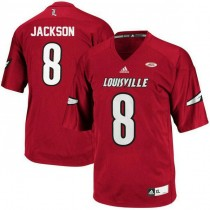 Womens Lamar Jackson Louisville Cardinals #8 Authentic Red College Football Jersey 102