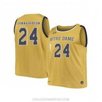 Womens Pat Connaughton Notre Dame Fighting Irish #24 Limited Gold College Basketball Jersey