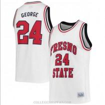 Womens Paul George Fresno State Bulldogs #24 Swingman White College Basketball Jersey