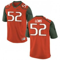 Womens Ray Lewis Miami Hurricanes #52 Authentic Orange Green College Football Jersey 102