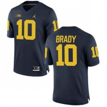 Womens Tom Brady Michigan Wolverines #10 Authentic Navy College Football Jersey 102