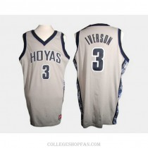 Youth Allen Iverson Georgetown Hoyas #3 Authentic White College Basketball Jersey