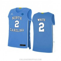 Youth Coby White North Carolina Tar Heels #2 Authentic Blue College Basketball Unc Jersey