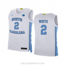 Youth Coby White North Carolina Tar Heels #2 Authentic White College Basketball Unc Jersey
