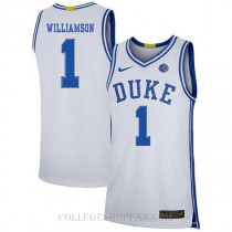 Zion Williamson Duke Blue Devils #1 Authentic College Basketball Mens Jersey White
