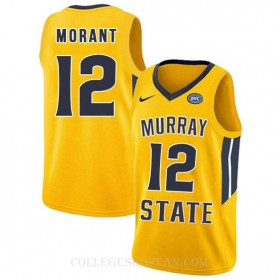 Ja Morant Murray State Racers #12 Authentic College Basketball Womens Jersey Yellow