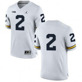 Mens Charles Woodson Michigan Wolverines #2 Game White College Football Jersey No Name 102