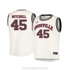 Mens Donovan Mitchell Louisville Cardinals #45 Limited White Retro College Basketball Jersey