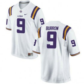 Mens Joe Burrow Lsu Tigers #9 Game White College Football Jersey 102