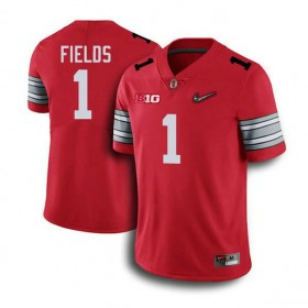 Mens Justin Fields Ohio State Buckeyes #1 Champions Game Red College Football Jersey 102