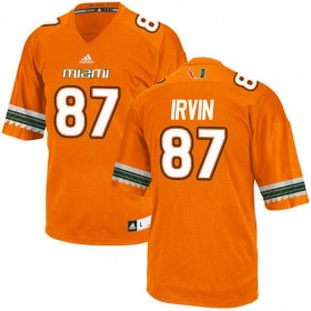 Mens Michael Irvin Miami Hurricanes #47 Game Orange College Football Adidas Jersey 102