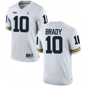 Mens Tom Brady Michigan Wolverines #10 Game White College Football Jersey 102