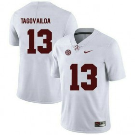 Mens Tua Tagovailoa Alabama Crimson Tide #13 Game White Colleage Football Jersey 102