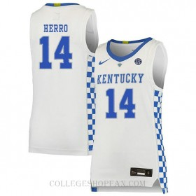 Tyler Herro Kentucky Wildcats #14 Authentic College Basketball Youth Jersey White