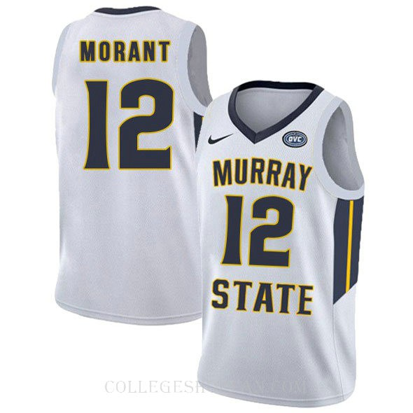 Ja Morant Murray State Racers #12 Limited College Basketball Youth Jersey White